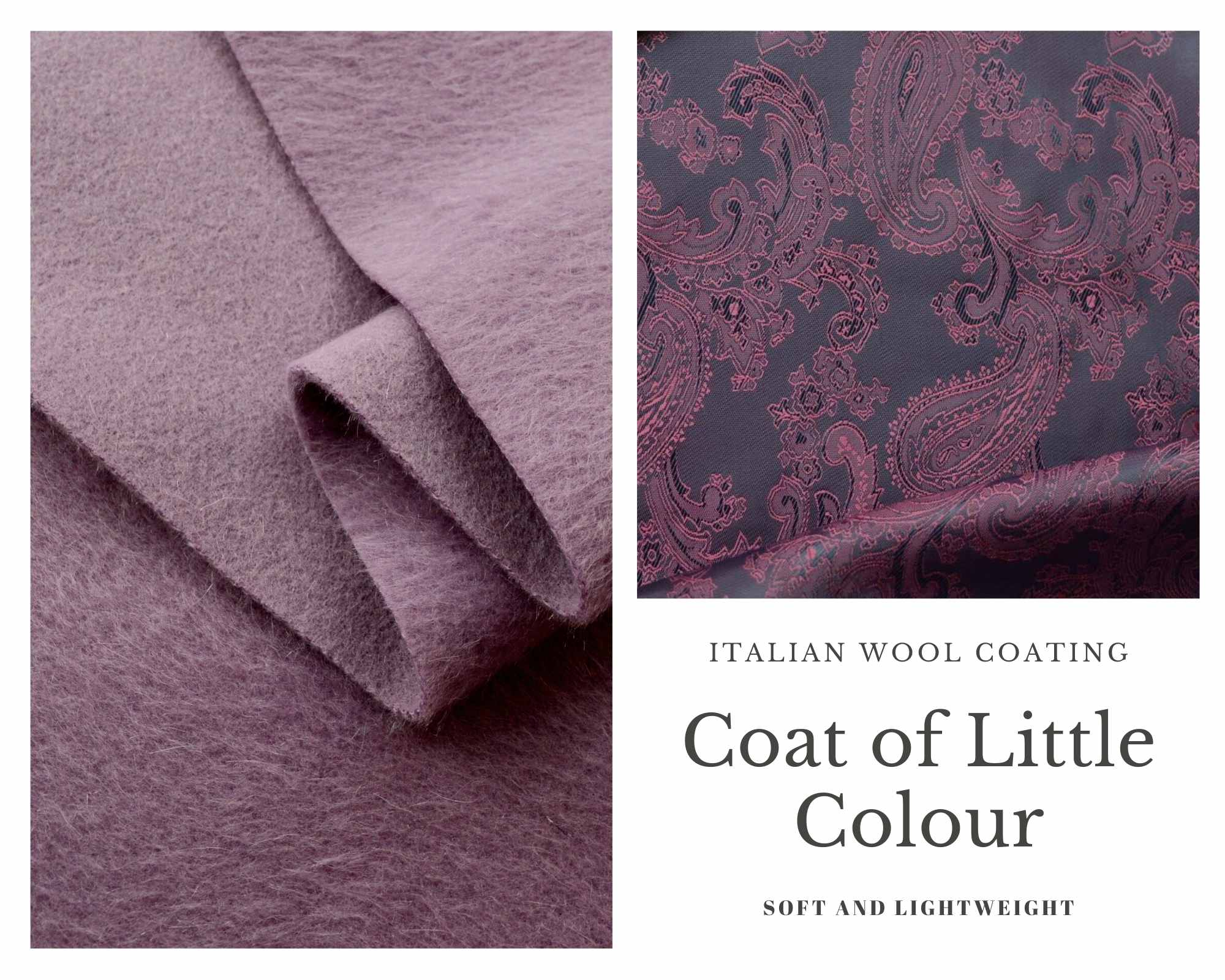 Coating Fabric - Product Coat of Little Colour - Lilac Wool Fabric