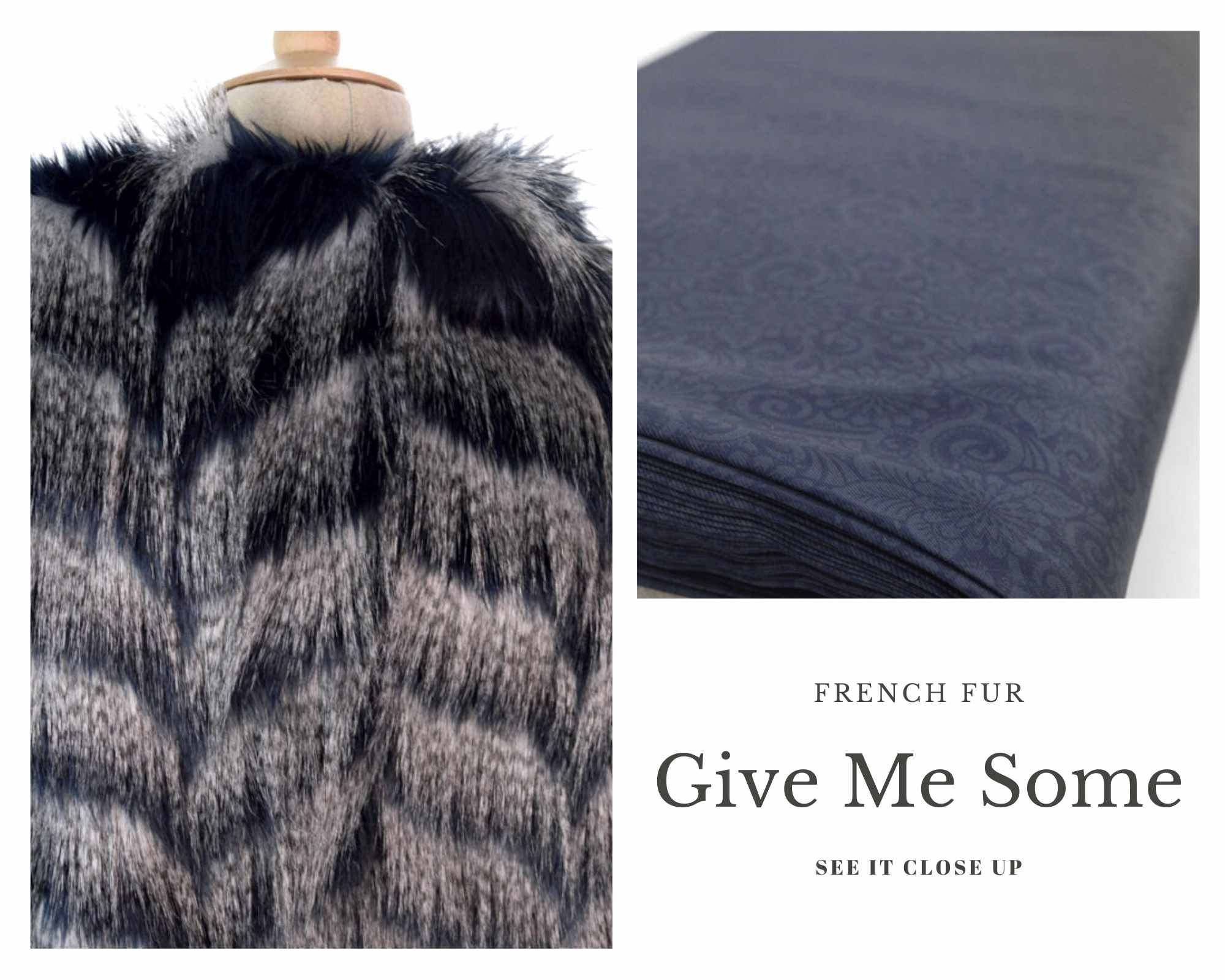 Coating Fabrics - Product Give Me Some - Navy and Ivory Fur fabric