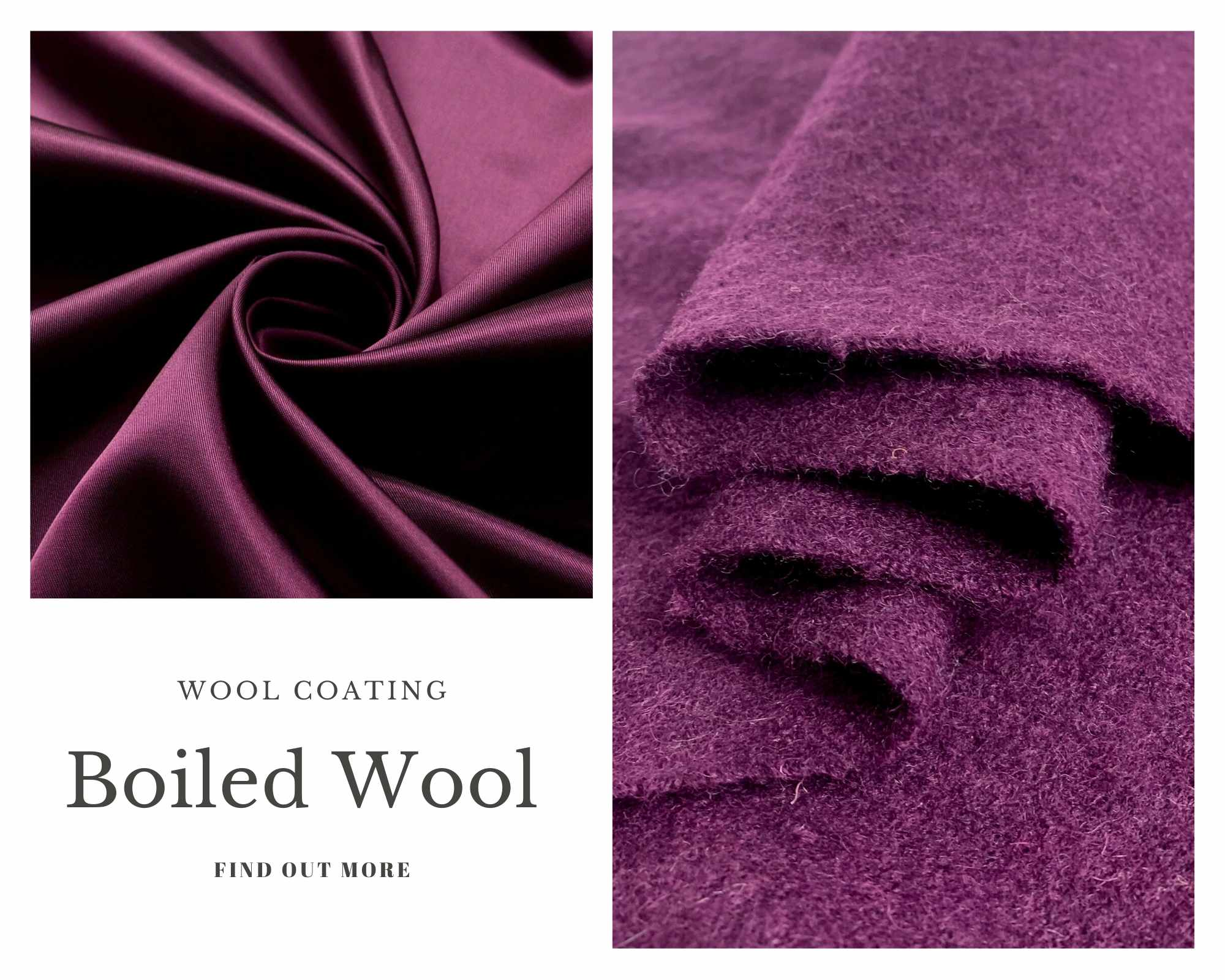 Coating Fabrics - Product Boiled Wool - Damson Wool fabric