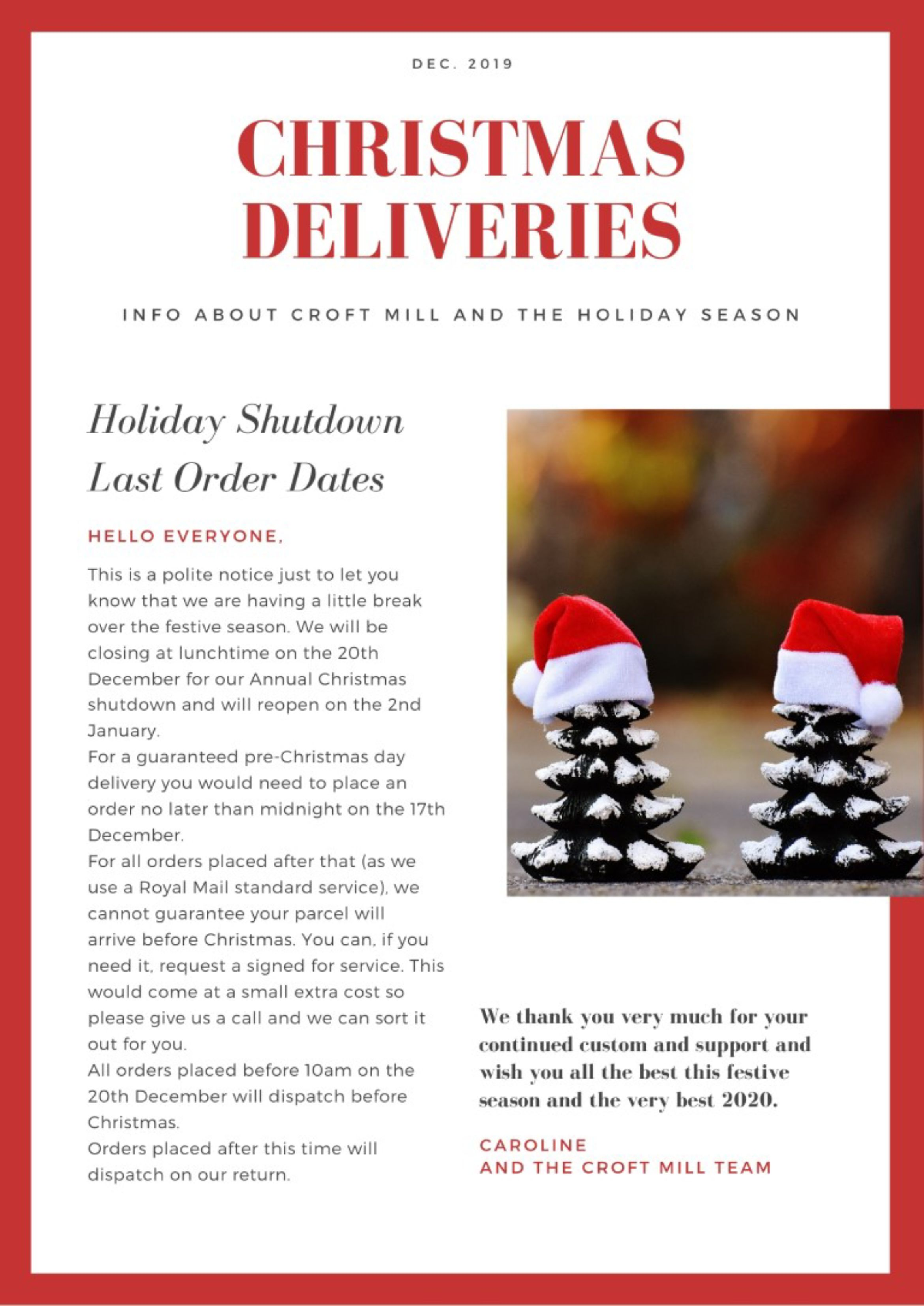 Christmas delivery info 2019