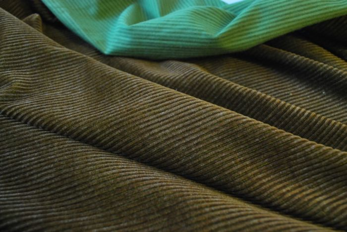 Corduroy fabric cotton brown and green cu