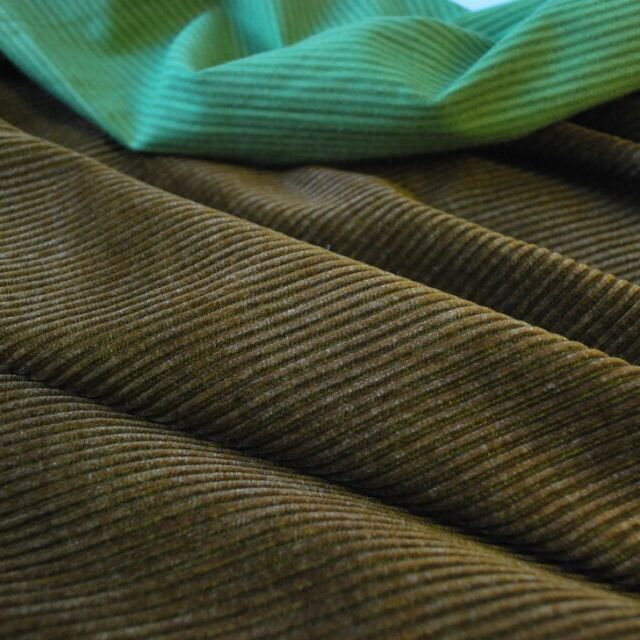 Corduroy fabric_cotton_brown and green_cu