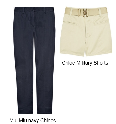 Miu Miu Navy Chinos & Chloe Military Shorts