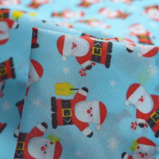 Photography of Christmas Poly/Cotton - Father Christmas Blue