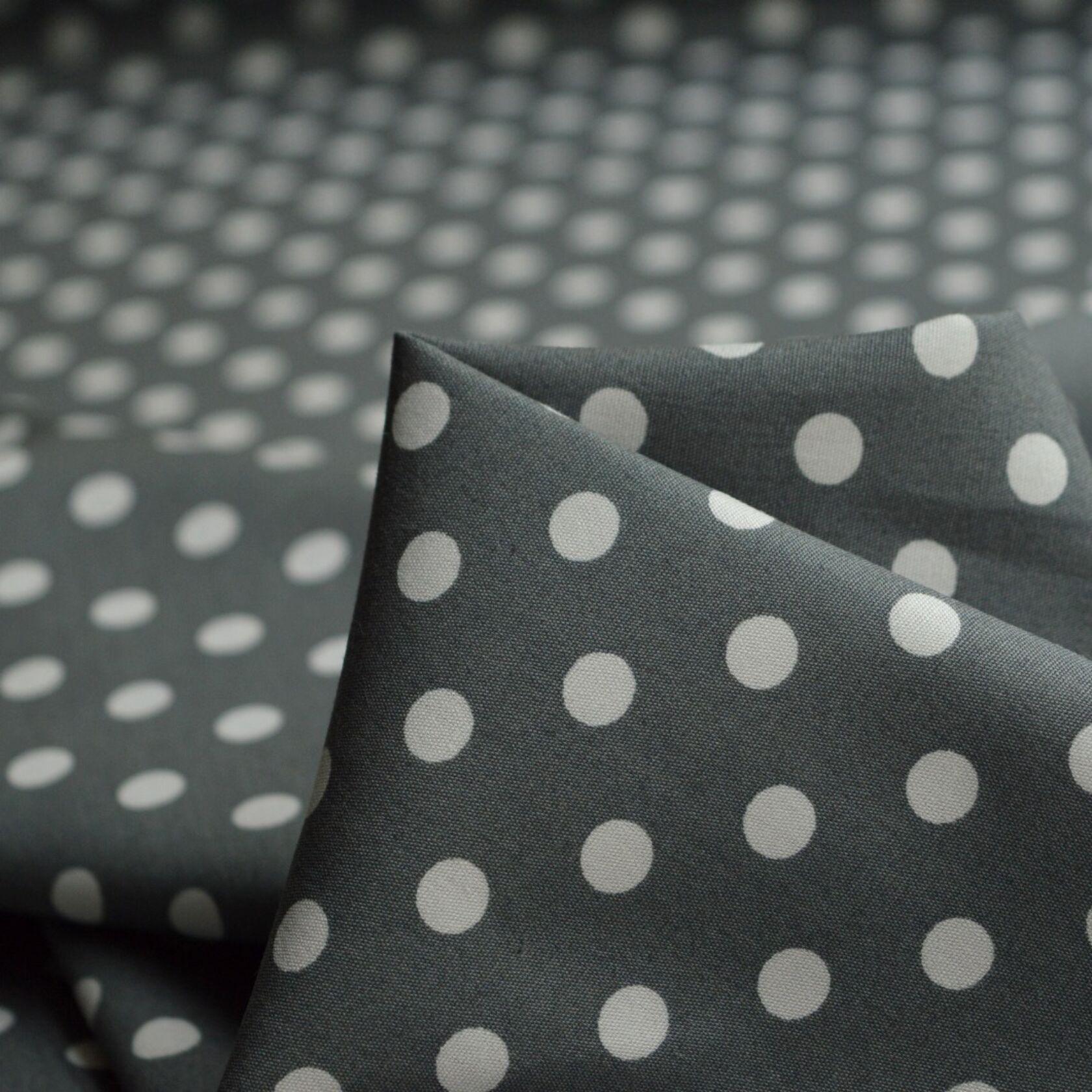 NEW M//Weight  Polyester White-Black Polka Dot Print Dress//Craft Fabric FREE P/&P