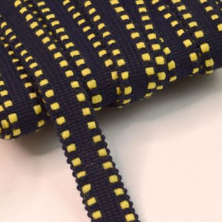 Photography of 10mm Polyester Navy & Yellow Braid Tape.