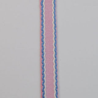 Photography of 15mm Stitched Edge Braid Cotton Tape - Pink, Blue & White