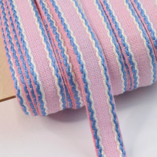Photography of 15mm Stitched Edge Braid Cotton Tape - Pink, Blue & White - 50 Metres