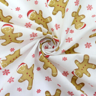 Photography of Christmas Poly/Cotton - Happy Gingerbread Man