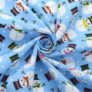 Photography of Christmas Poly/Cotton - Snowman - Sky Blue