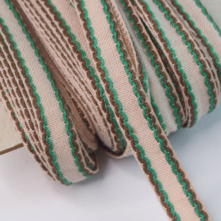 Photography of Roll- 15mm Stitched Edge Braid Cotton Tape - Taupe, Brown & Green (50metres)
