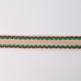 Photography of 15mm Stitched Edge Braid Cotton Tape - Taupe, Brown & Green