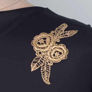 Photography of Embroidered Patch - Gold Flower