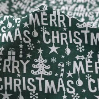 Photography of Christmas Poly/cotton - Merry Christmas- Green