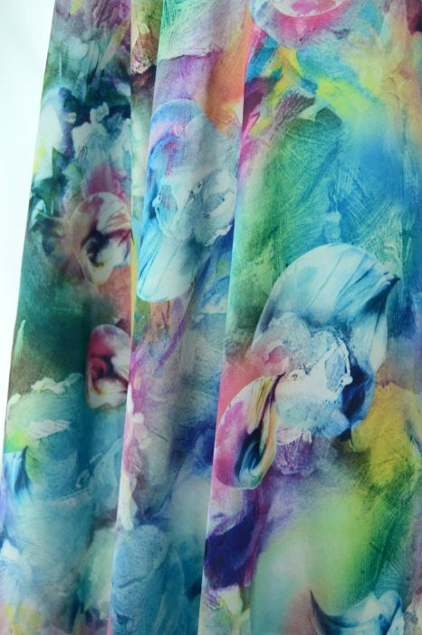 Silky Satin - Frozen - polyester digital print dress fabric - d