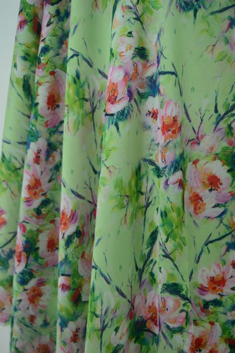 Silky Satin - Meadow Lark - polyester digital print dress fabric - d