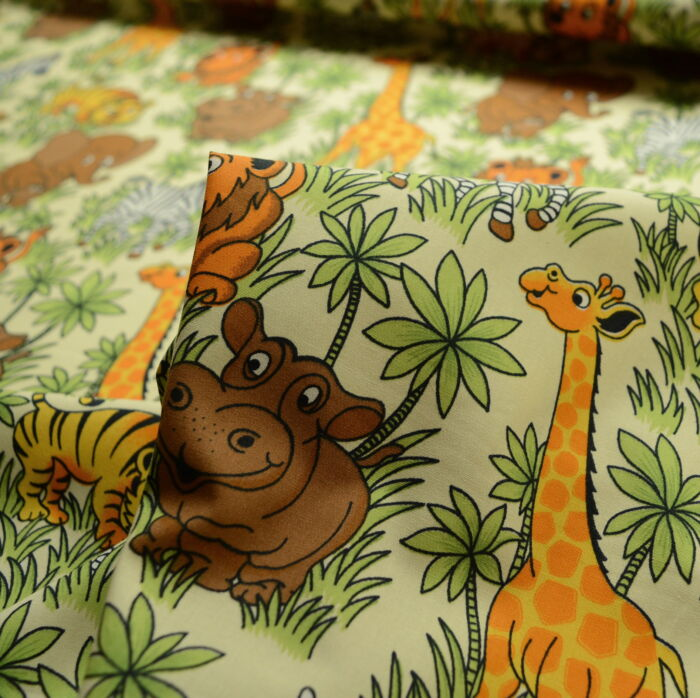 Poplin Prints - Bagheera - Jungle Print Cotton Fabric -cu