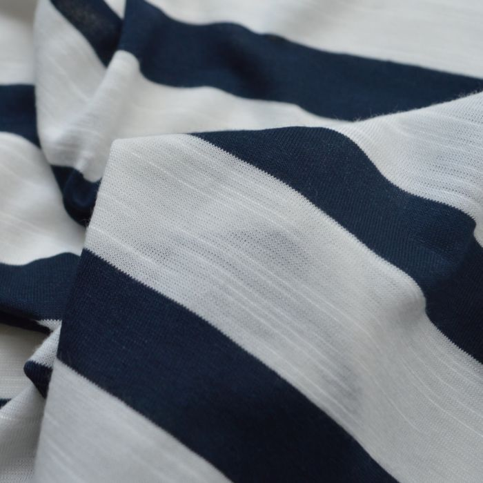 Fine Viscose Jersey - Pierre - Navy white stripe -cu