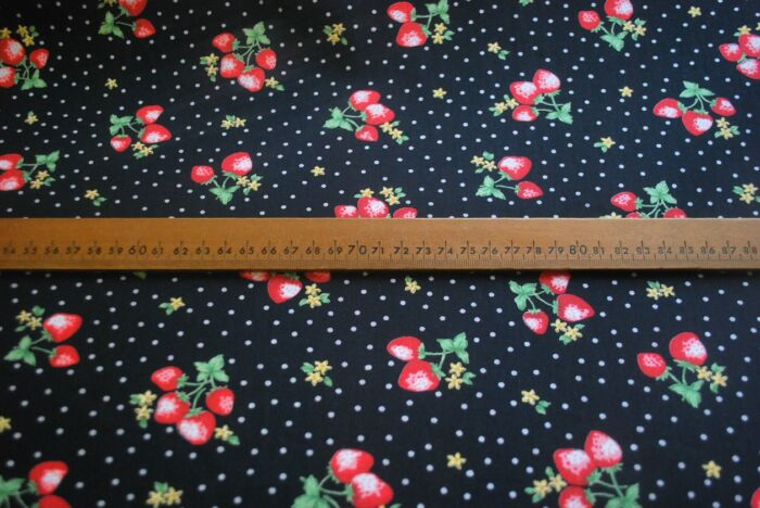 Miss Huckleberry - Black and Red Strawberry Cotton Fabric