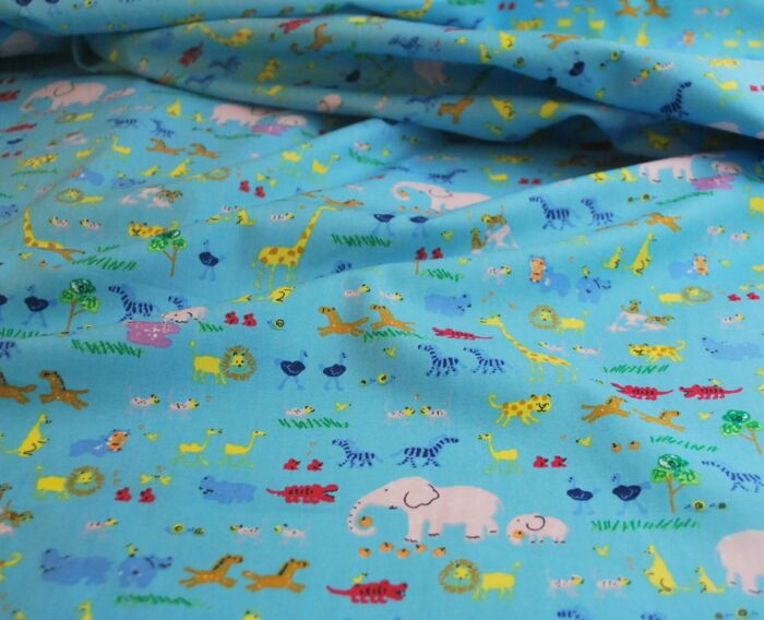 Two be Two - Blue cotton animal print fabric - s