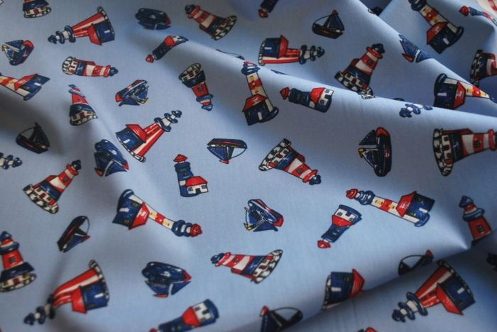 Elliott - Lighthouse and Boat Print Cotton Fabric