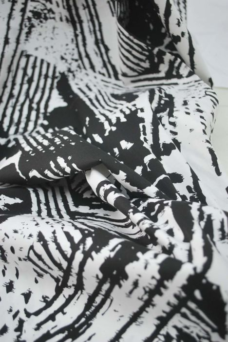 Negative - Monochrome Abstract Cotton Dress Fabric- D