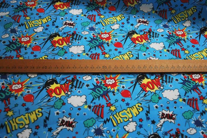 Poplin Prints- Pow Wow - Comic Style Cotton -S