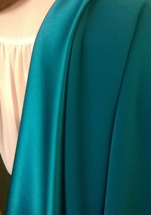 Satin backed crepe dress fabric in Teal - d
