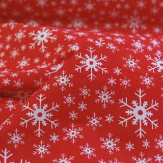 Photography of Christmas Poly/cotton - Red and White Snowflakes