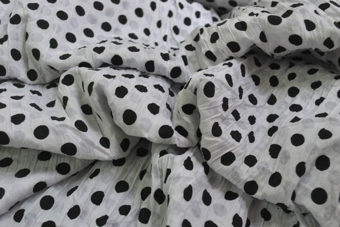 Imelda - Cotton poly Black and White Spot Fabric - cu