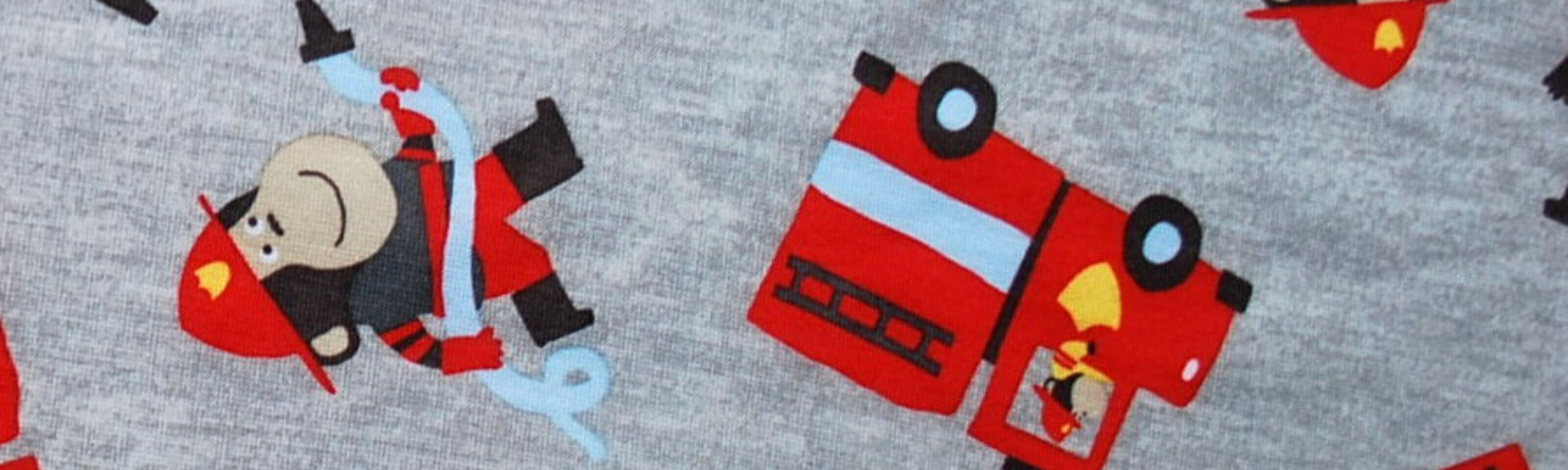 Childrens Jersey Fabric- Polyester- Fireman- CU
