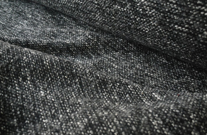 Grey and Black Boucle Coating Fabric - D