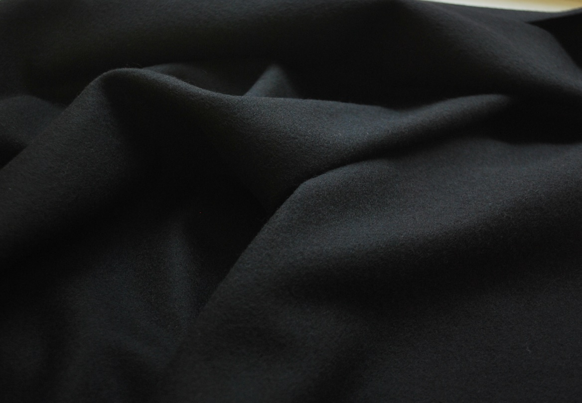 Black Wool and Cashmere Fabric