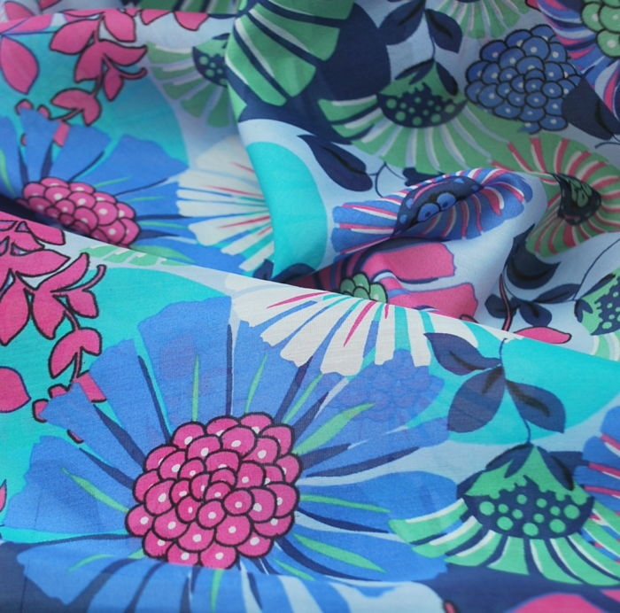 Carnival - Blue Floral Cotton Silk Dress Fabric cu