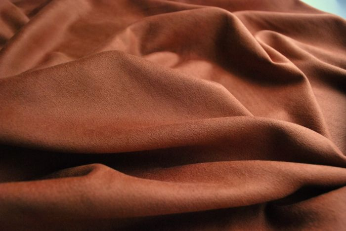 Faux suede dress fabric deep tan