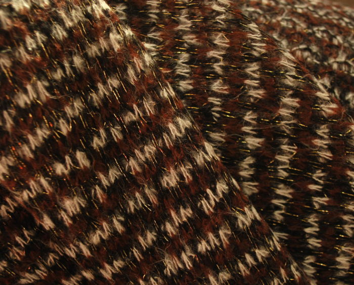 Acrylic & Nylon & Wool Knit in Light Brown Close Up