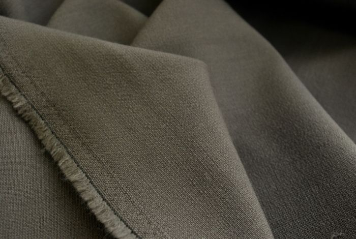 Carluccio taupe medium weight poly wool suiting fabric