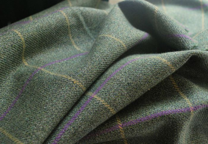 Now is the Hour magee green check wool suiting fabric