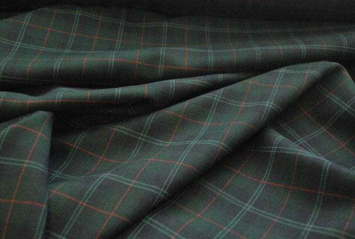 Utterley Buttery Check poly wool suiting fabric