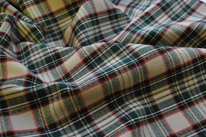 Just at the sun poly viscose plaid suiting