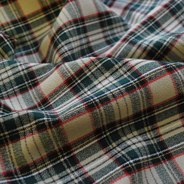 Just at the sun_poly viscose plaid suiting
