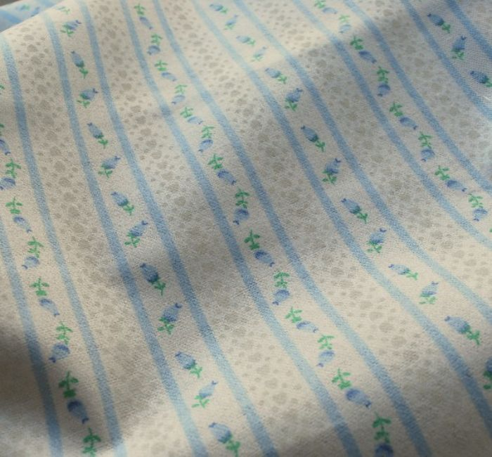 Incy wincey winceyette cotton fabric blue stripe