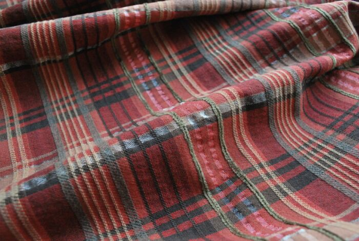 Something Stirring plaid suiting dress fabric close up
