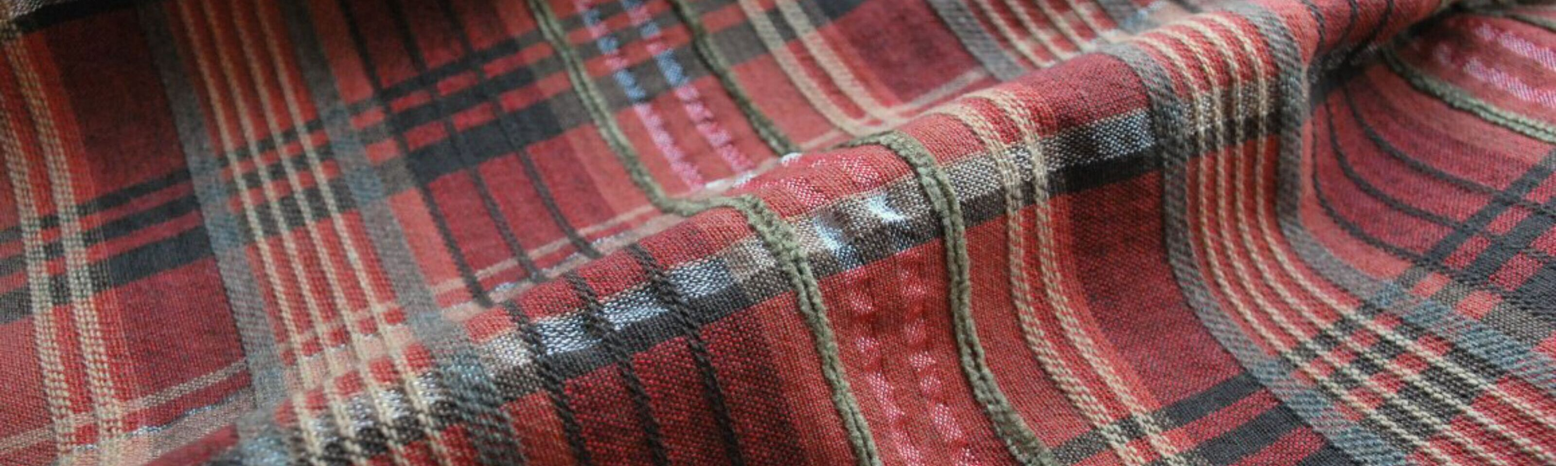 Something Stirring_plaid suiting dress fabric_close up