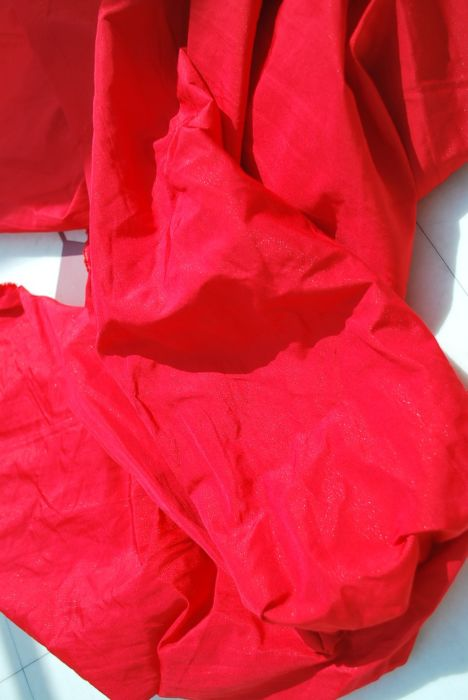 Pimpernel red polyester dress fabric