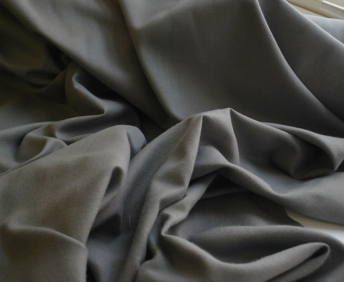 Cosy grey brushed poly cotton shirting fabric w