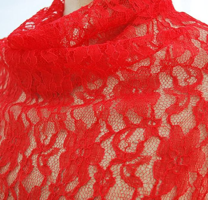 Saskia red lace fabric cu