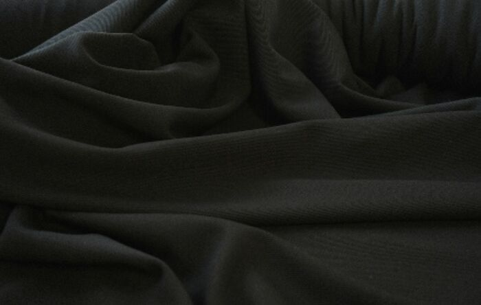 Reverential black wool poly suiting fabric w