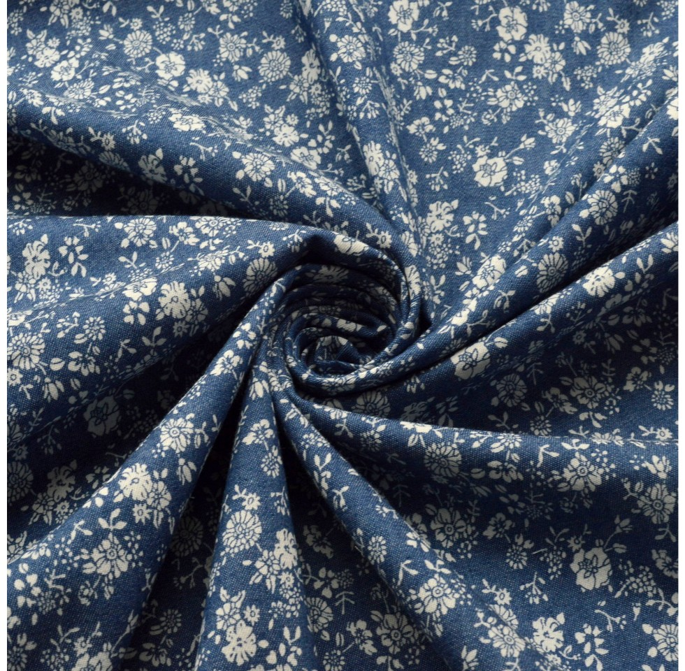 Chambray Lightweight Cotton Fabric Dark Blue Denim 4oz Plain Washed