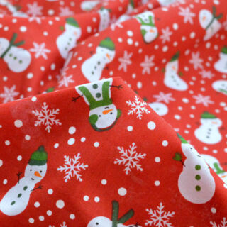 Photography of Christmas Poly/Cotton - Lonely Snowman - Red
